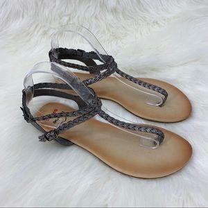 Alpine Swiss Gladiator Sandals Braided (T-Strap)